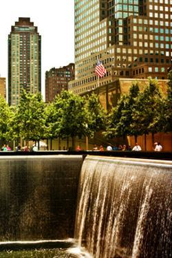 The Memorial Pool View at 9/11 Memorial, 1WTC, Manhattan, New York, White Frame, Sunset Colors by Philippe Hugonnard