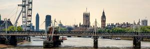 The Millennium Wheel and Houses of Parliament - Views of Hungerford Bridge and Big Ben - London by Philippe Hugonnard
