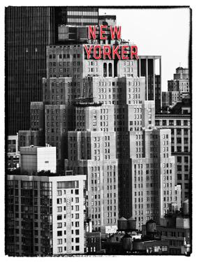 The New Yorker Hotel, Black and White Photography, Red Signs, Midtown Manhattan, New York City, US by Philippe Hugonnard