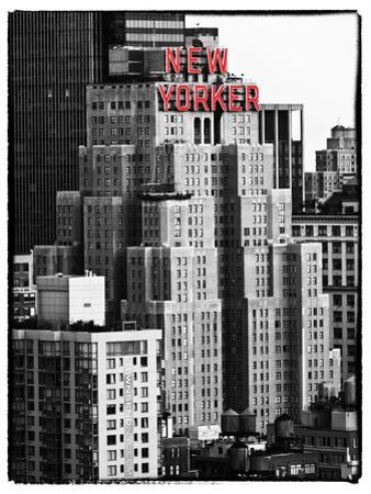 The New Yorker Hotel, Black and White Photography, Red Signs, Midtown Manhattan, New York City, US