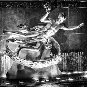 The Prometheus Statue with Snow by Night at Rockefeller Center in New York by Philippe Hugonnard