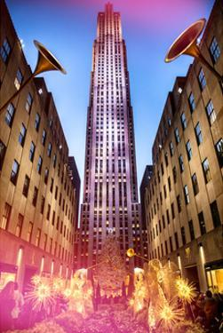 The Rockefeller Center with Christmas Decoration at Nightfall by Philippe Hugonnard