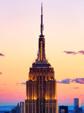 Top of Empire State Building at Pink Sunset, Manhattan, New York, United States by Philippe Hugonnard