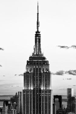 Top of Empire State Building, Manhattan, New York, White Frame, Full Size Photography by Philippe Hugonnard