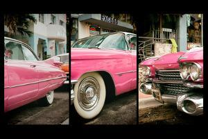 Triptych Collection - Classic Antique Pink Cadillac of Art Deco District - Miami - Florida by Philippe Hugonnard