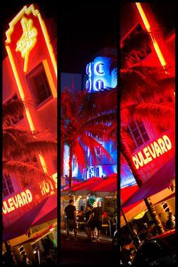 Triptych Collection - Colorful Street Life at Night - Ocean Drive - Miami by Philippe Hugonnard