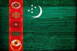 Turkmenistan Flag Design with Wood Patterning - Flags of the World Series by Philippe Hugonnard