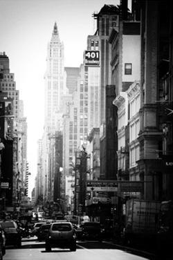 Urban Scene, 401 Broadway, Soho, Manhattan, NYC, White Frame, Old Black and White Photography by Philippe Hugonnard