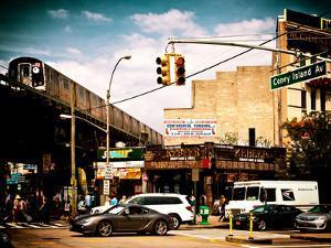 Urban Scene, Coney Island Av and Subway Station, Brooklyn, Ny, United States, USA by Philippe Hugonnard