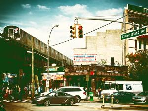 Urban Scene, Coney Island Av and Subway Station, Brooklyn, Ny, US, USA, Vintage Color Photography by Philippe Hugonnard