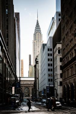 Urban Scene in Winter at Grand Central Terminal in New York City with the Chrysler Building by Philippe Hugonnard