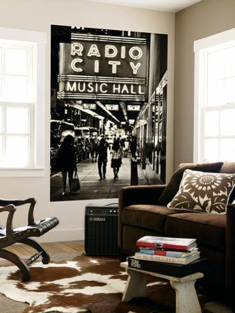Urban Scene, Radio City Music Hall by Night, Manhattan, Times Square, New York, White Frame by Philippe Hugonnard