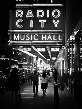 Urban Scene, Radio City Music Hall by Night, Manhattan, Times Square, New York, White Frame by Philippe Hugonnard