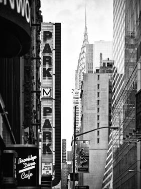 Urban Scene with Chrysler Building, Times Square, Manhattan, New York, Black and White Photography by Philippe Hugonnard