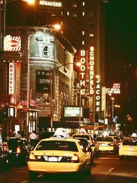 Urban Scene with Yellow Cab by Night at Times Square, Manhattan, NYC, Vintage Colors Photography by Philippe Hugonnard
