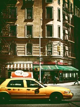 Urban Scene with Yellow Cab on the Upper West Side of Manhattan, NYC, Vintage Colors Photography by Philippe Hugonnard