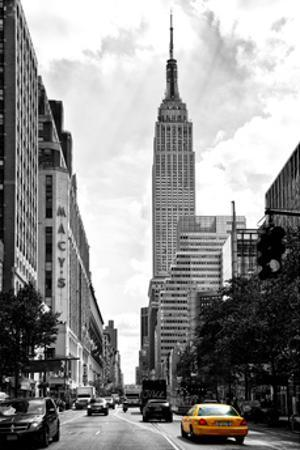 Urban Scene, Yellow Cab, Empire State Buildings and Macy's Views, Midtown Manhattan, NYC by Philippe Hugonnard