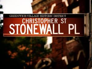 Urban Sign, Christopher Street and Stonewall Place, Greenwich Village District, Manhattan, New York by Philippe Hugonnard