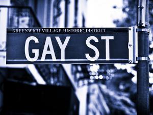 Urban Sign, Gay Street, Greenwich Village District, Manhattan, New York, Blue Light Photography by Philippe Hugonnard