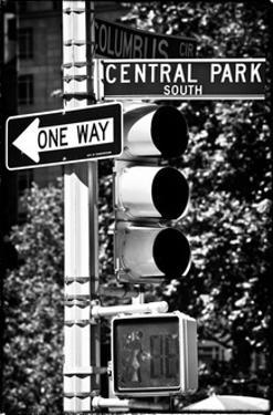 Urban Signs, Central Park, Manhattan, New York, White Frame Vintage, Full Size Photography by Philippe Hugonnard