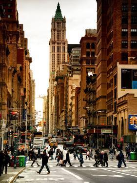 Urban Street Scene in Broadway at Sunset - Canal Street - Manhattan - New York City by Philippe Hugonnard