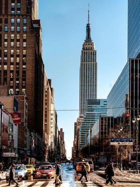 Urban Street Scene with the Empire State Building in Winter by Philippe Hugonnard