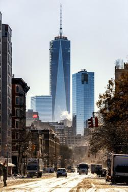 Urban Street Scene with the One World Trade Center (1WTC) in Winter by Philippe Hugonnard