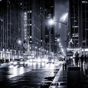 Urban Street View on Avenue of the Americas by Night by Philippe Hugonnard