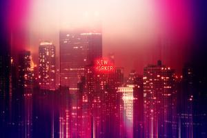 Urban Stretch Series - Manhattan at Pink Misty Night with New Yorker Hotel - New York by Philippe Hugonnard
