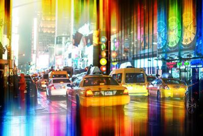 Urban Stretch Series - Yellow Taxi of Times Square by Night - Manhattan - New York by Philippe Hugonnard