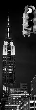 Vertical Panoramic - Door Posters - NYC Urban Street Scene - The Empire State Building at Night by Philippe Hugonnard
