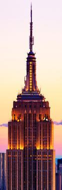 Vertical Panoramic View, Top of Empire State Building at Pink Sunset, Manhattan, New York, US by Philippe Hugonnard