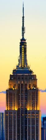 Vertical Panoramic View, Top of Empire State Building at Sunset, Manhattan, New York, US by Philippe Hugonnard