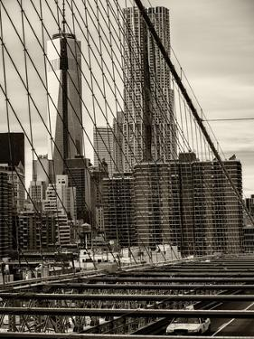 View of Brooklyn Bridge with the One World Trade Center (1WTC) and New York by Gehry Buildings by Philippe Hugonnard