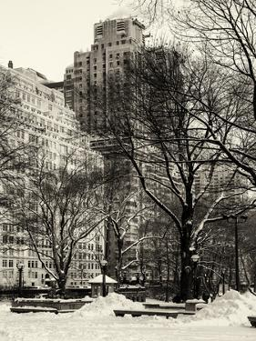View of Buildings along Central Park Snow by Philippe Hugonnard