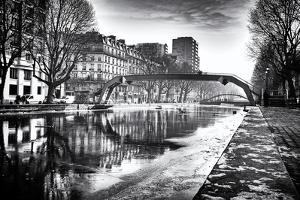 View of the Canal Saint-Martin - Winter -  Paris - France by Philippe Hugonnard