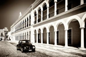 ¡Viva Mexico! B&W Collection - Black VW Beetle Car in Campeche II by Philippe Hugonnard