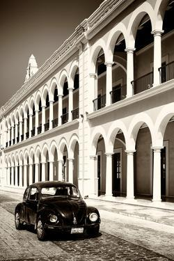 ¡Viva Mexico! B&W Collection - Black VW Beetle Car in Campeche V by Philippe Hugonnard