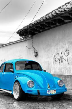 ¡Viva Mexico! B&W Collection - Blue VW Beetle in San Cristobal de Las Casas by Philippe Hugonnard
