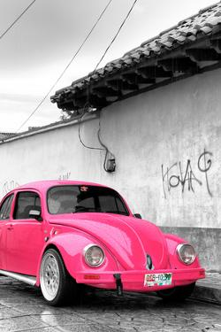 ¡Viva Mexico! B&W Collection - Hot Pink VW Beetle in San Cristobal de Las Casas by Philippe Hugonnard