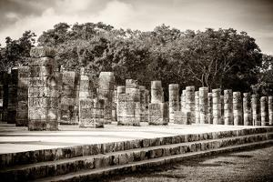 ¡Viva Mexico! B&W Collection - One Thousand Mayan Columns - Chichen Itza by Philippe Hugonnard