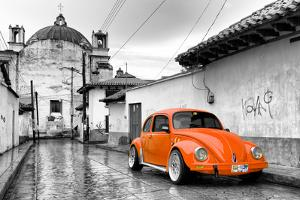 ¡Viva Mexico! B&W Collection - Orange VW Beetle Car in San Cristobal de Las Casas by Philippe Hugonnard