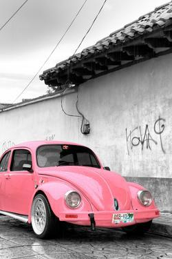 ¡Viva Mexico! B&W Collection - Pink VW Beetle in San Cristobal de Las Casas by Philippe Hugonnard