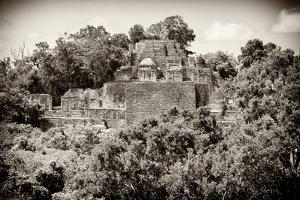 ¡Viva Mexico! B&W Collection - Pyramid in Mayan City of Calakmul III by Philippe Hugonnard