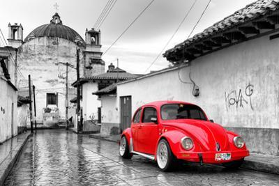 ¡Viva Mexico! B&W Collection - Red VW Beetle Car in San Cristobal de Las Casas