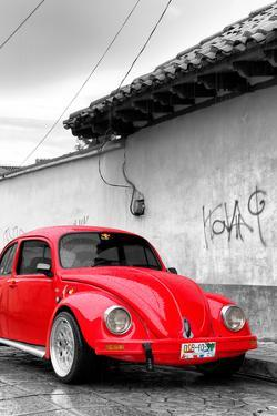 ¡Viva Mexico! B&W Collection - Red VW Beetle in San Cristobal de Las Casas by Philippe Hugonnard