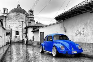 ¡Viva Mexico! B&W Collection - Royal Blue VW Beetle Car in San Cristobal de Las Casas by Philippe Hugonnard
