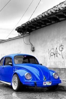 ¡Viva Mexico! B&W Collection - Royal Blue VW Beetle in San Cristobal de Las Casas by Philippe Hugonnard