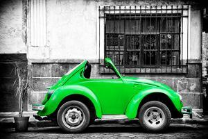 ¡Viva Mexico! B&W Collection - Small Kelly Green VW Beetle Car by Philippe Hugonnard
