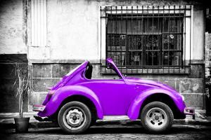 ¡Viva Mexico! B&W Collection - Small Red Purple Beetle Car by Philippe Hugonnard